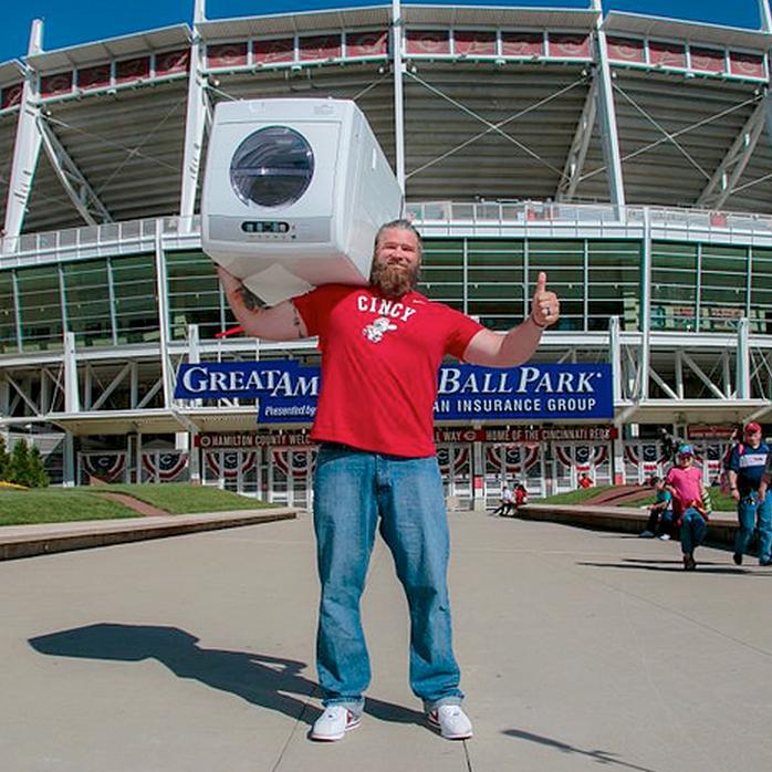 @CincinnatiStrongman Sean McCarthy at Great American Ballpark